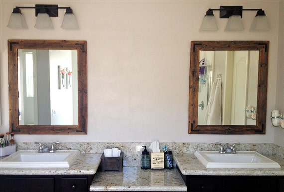 ready to ship 34x36 bathroom mirror reclaimed wood framed 20112