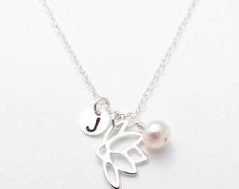 Silver Lotus Necklace, Sterling Silver, Personalized Initial Necklace & Pearl, New Mom Necklace, Lotus Charm, Lotus Jewelry, Yoga Necklace