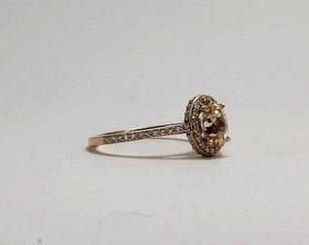 Peach sapphire rose gold diamond engagement ring