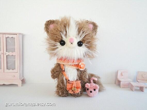 Amigurumi Kitty Mini : kawaii amigurumi cat crochet kitty tan kitten fuzzy with mini