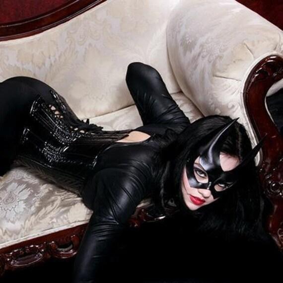 Batgirl Leather Mask Black Super Hero Sexy Halloween Masquerade Catwoman Heroic Cosplay Hotness Carnival Mardi Gras Batman Costume Party