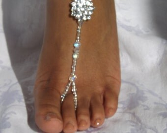 1 PAIR Swarovski Bridal Jewelry Barefoot Sandals Wedding Foot Jewelry Anklet Rhinestone Barefoot Sandles Beach Wedding