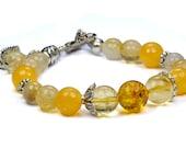 Baltic Amber, Citrine, Rutilated Quartz, Calcite Gemstone Charm Bracelet...Sunny Summer Bracelet...Custom your charms. - iyildiz