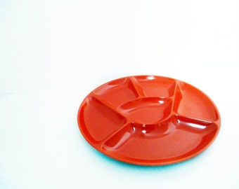 Orange snack/hors d'oeuvres dish - vintage 1970s - ultra stylish - made by Mepal
