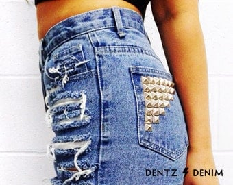 High Waisted Blue Denim Shorts - Back Pocket Stud / Shredded - Blue Jean Shorts - Plus thru Petite Size