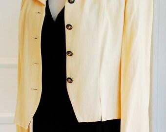 1980's Cropped Canary Yellow Blazer