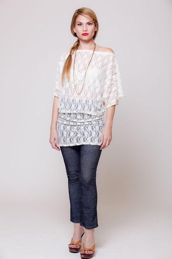 chemise romantique en dentelle blanche dentelle haut hors de. Black Bedroom Furniture Sets. Home Design Ideas