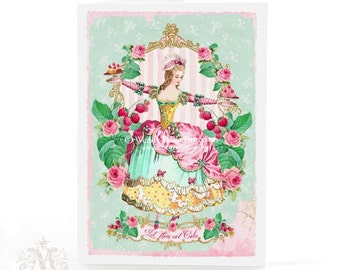 Marie Antoinette card, Let Them Eat Cake, French card, birthday card, vintage style, high tea card, raspberries, pink roses, mint green