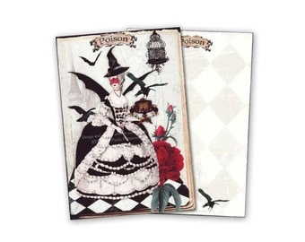 Halloween cards, Halloween witch, Halloween party invitations, note cards, Marie Antoinette, crows, bats, Halloween decor, witch invitations