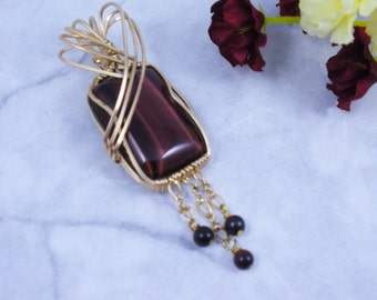 Red Tiger's Eye in 14 K Gold Filled  Wire Wrap  Pendant Necklace