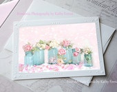 Roses Note Card, Shabby Chic Roses, Flower Note Cards, Pink Roses Notecard, Romantic Shabby Chic Roses, Roses Mason Jars Floral Note Cards