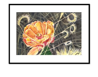 cactus flower watercolor painting, orange flower art, original botanical painting