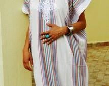Autumn Bedouin Style Resort Caftan Kaftan- White-Perfect as loungewear, as beachwear,cover ups,resortwear, Kaftan, maternity, birthday gifts