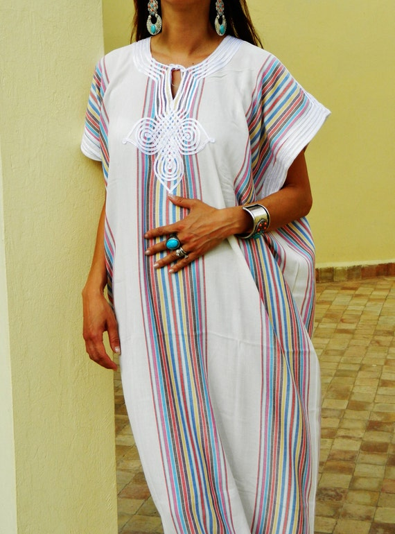 Bedouin Style Resort Caftan Kaftan- White-Perfect as loungewear, as beachwear,cover ups,resortwear, Kaftan, maternity, birthday gifts