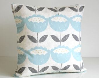 Cushion cover, Flower Pillow Cover, Floral Cushion Cover, Flower Pillow Sham, pillow covers - Brush Flowers Powder Blue
