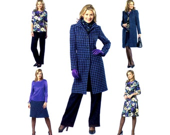 Womens Coat Pattern Uncut Butterick B4619 Single Breasted Coat Elastic Waist Pants A Line Skirt Pullover Tops Office Casual Sewing Patterns