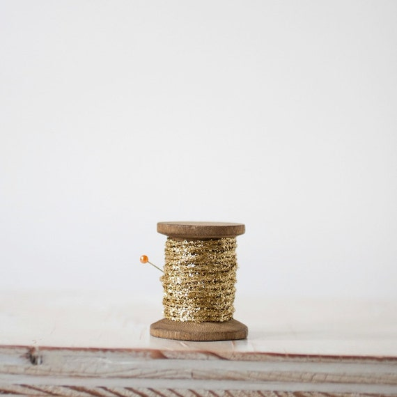Gold Glitter String (with Wooden Spool) - 10 yards