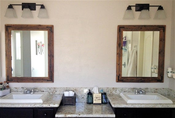 30x36 Bathroom Mirror Set Reclaimed Wood Framed