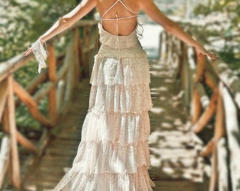 Blush Pink Lace Bohemian Wedding Dress Bridal Wedding Gown - Handmade by SuzannaM Designs