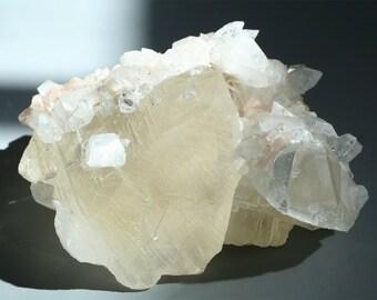 huge calcite crystal cluster, apophyllite stilbite display stone, large calcite crystal point, raw mineral specimen, boho decor 50% off SALE