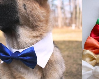 Dog Cat Shirt Collar Set with Satin Bow Tie Dog Wedding Pointed Shirt Collar Adjustable Removable Blue Red Green Gold Bowtie