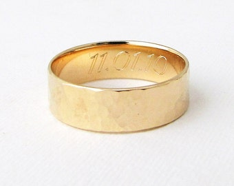 engraved gold wedding band mens gold wedding ring hammered mens gold ring 14k gold mens ring rustic wedding rings unique wedding bands - Mens Gold Wedding Ring