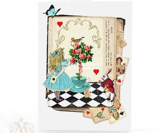 Alice in Wonderland card with the white rabbit and Queen of hearts, blank inside