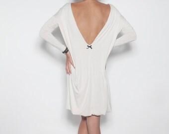 White dress   Backless dress   Dress with black bow   LeMuse white dress