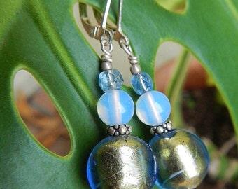 Blue Moon Earrings - Authentic Italian Murano Glass Beads, Vintage German Glass & Opalite Beads w Sterling Silver Leverback Ear Wires