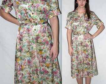 Kodachrome ... Vintage 70s shirtwaist day dress / 1970s photo picture print floral / secretary belted / indie boho hipster ... L XL