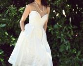 Tea Length Wedding Dress, Silk Wedding Gown, Alternative, Sweetheart Bodice, Low Back wedding dress, Pockets, Eco Friendly, Made to Measure