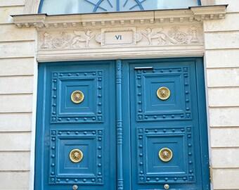Paris Door Photography, Blue Aqua Door Paris, Paris Wall Art, Paris Blue Door Prints, Paris France doors, Fine Art Paris Photography