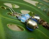 Blue Moon Earrings - Shimmery Italian Murano Glass Beads, Vintage German Glass & Opalite Beads w Sterling Silver Leverback Ear Wires