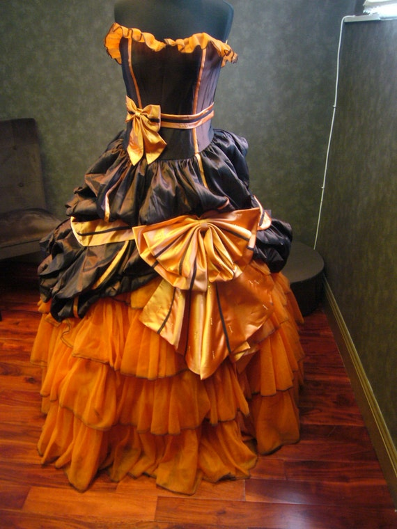 Orange and brown wedding dress halloween by for Black and orange wedding dresses