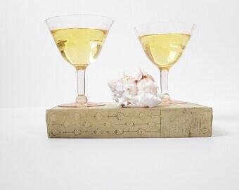 Saucer Coupe Champagne Glasses - Vintage Pink Depression Glass - Toasting Glassware - Wedding Bridal - Fine Dining - Barware Entertaining