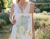 Custom Wedding Map - Hand Drawn, Hand Lettered and Hand Painted Art Map - Watercolour Wedding Map - Original Artwork