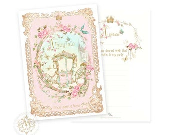 Once upon a time, Fairy tale party invitations, princess carriage in pink and gold, a set of 4