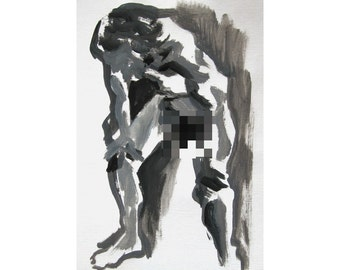 Heavy (February 2014), original acrylic painting of male nude figure life drawing mature