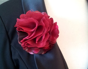 Blood Red Shiny Plastic and Chiffon Flower Magnetic Pin
