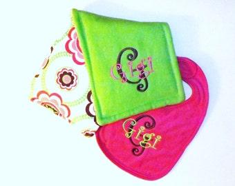 Monogrammd Baby bib & Burpcloth Gift Set - Large Modern Flowers - U Design