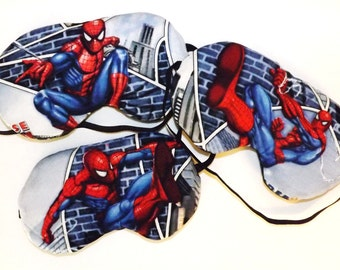 Set of 3 Sleep Masks -  Spiderman - Comes as Shown - Handmade - Fits Kids to Adults- Flannel Back