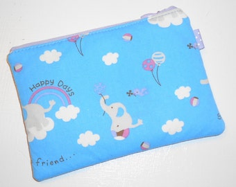 Elephant & Birdy Padded Zippy Pouch --Blue Cosmetic Case / Camera Bag / Card Holder