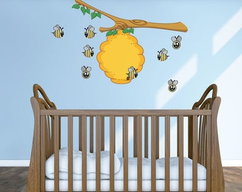 Bumbling Bee Hive- Reusable Wall Sticker, Child Wall Decals, 20 piece set