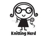 Knitting Nerd Vinyl Car Decal - Car Sticker, Laptop Sticker, Window Decal, Personalized Decal,