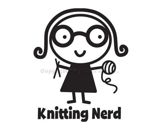 Knitting Nerd Vinyl Car Decal - Car Sticker, Laptop Sticker, Window Decal, Personalized Decal,