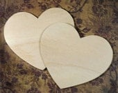 Set of Two Unfinished Wood Hearts