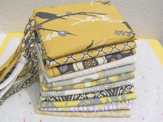 9 gray and yellow CLUTCHES, gift pouches, wedding, bridal, 2 pockets, handmade, bridesmaids,