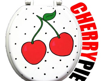 Sweet as Cherry Pie Toilet Seat Hand Painted by Debbie Is Adopted Bathroom Wall Art Decor Remodel Houzz