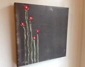 Red Flowers: Original Print on Canvas