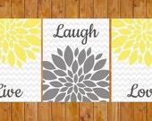 Instant Download Live Laugh Love Yellow Floral Flower Burst Gray Grey Wall Art Home Decor Bedroom Bathroom 3- 8x10 DIY Printable (112)